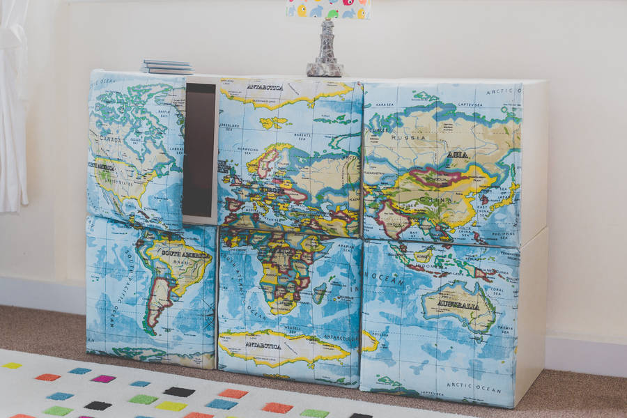 Map design fabric storage cubes fresh design blog map decor storage idea for your home gumiabroncs Gallery