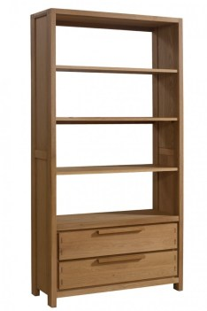 Matrix collection solid oak wood wide bookcase