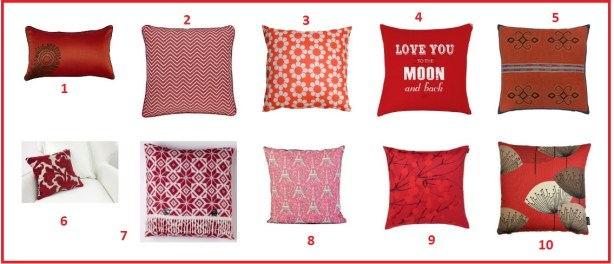 Red hot cushions for Valentine's Day