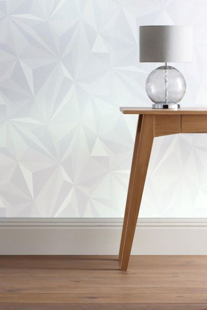Love this origami effect wallpaper. It adds just the right amount of design to a wall without being overpowering.