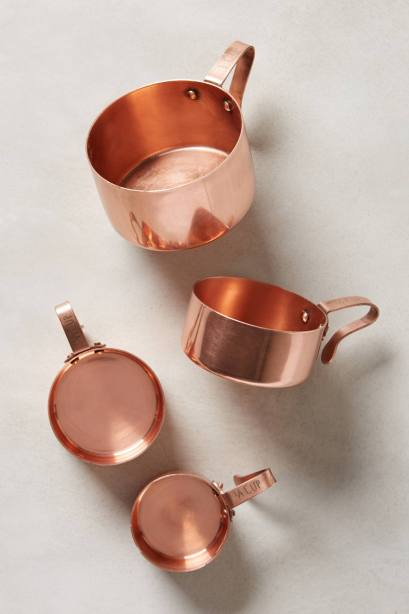 Copper colour kitchen cooking and baking measuring cups