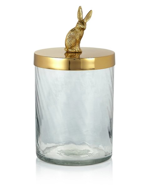 Display small Easter treats in style, with this gold bunny glass jar. Great for a table centrepiece, or even a gift.