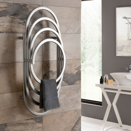 Stunning EOS round designer radiator and towel rail - perfect for use in a modern bathroom