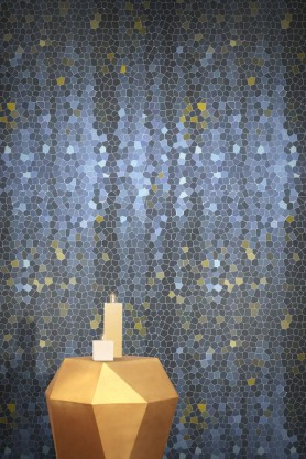Stunning Feathr Firefly wallpaper in blue, designed by Chinese artist Yuexin Du