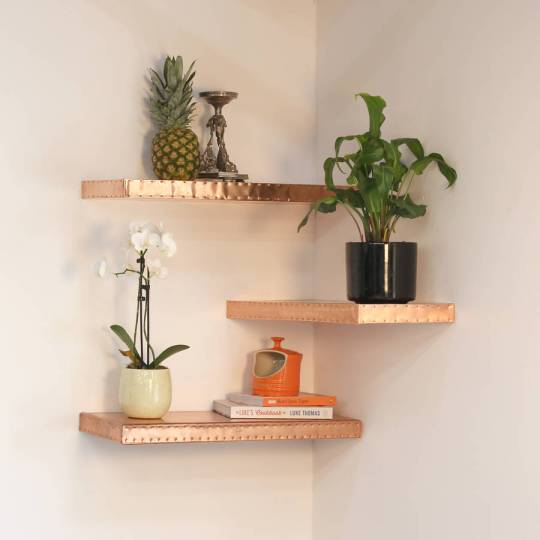 Gorgeous handmade textured floating copper shelf - display accessories in style at home.