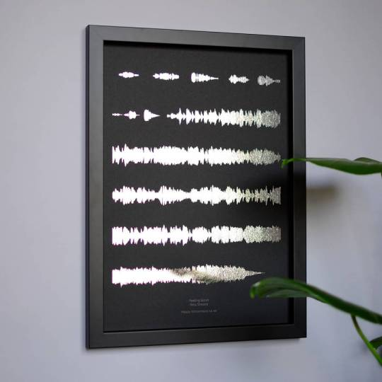 Unusual gift idea - metallic personalised favourite song sound wave print