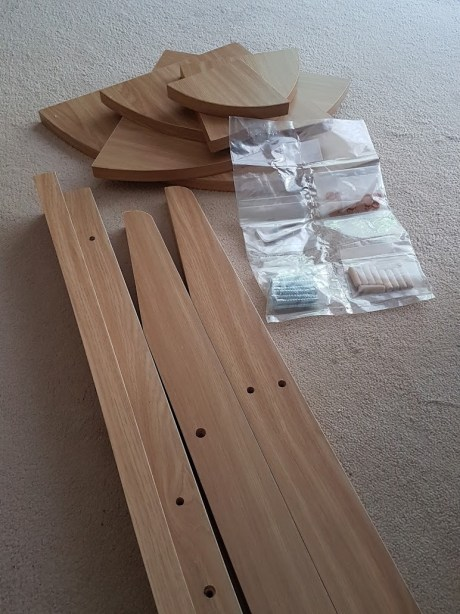 Unboxing the Quinn corner bookcase in oak. Affordable flat pack furniture from Matalan.