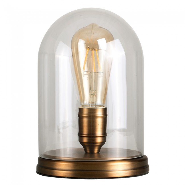 Done shaped exposed bulb table lamp in steampunk style