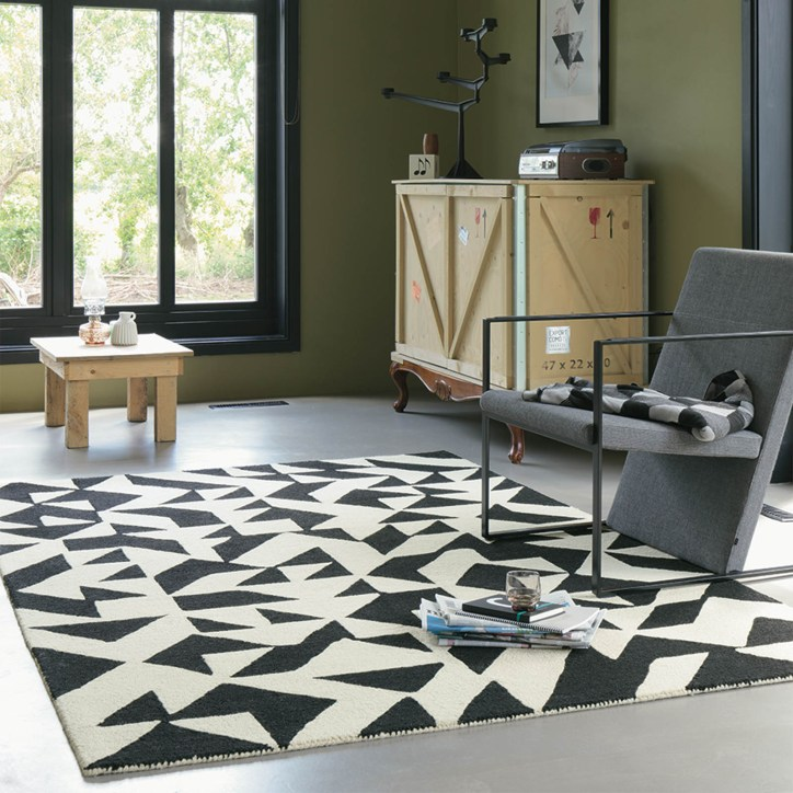 Nova Origami contemporary black and cream design rug