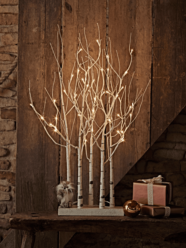 This lovely birch cluster tree can be safely used indoors or outside. It's pre-lit and very striking.