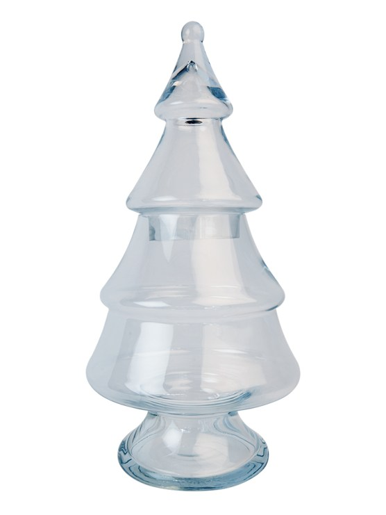 Large hollow glass Christmas tree design jar that can be filled and decorated