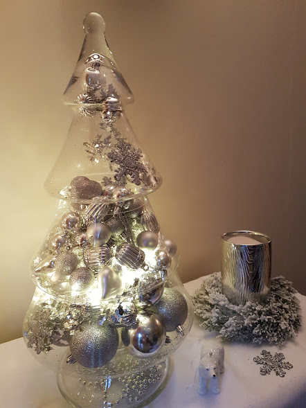 How to style a large glass Christmas tree display jar
