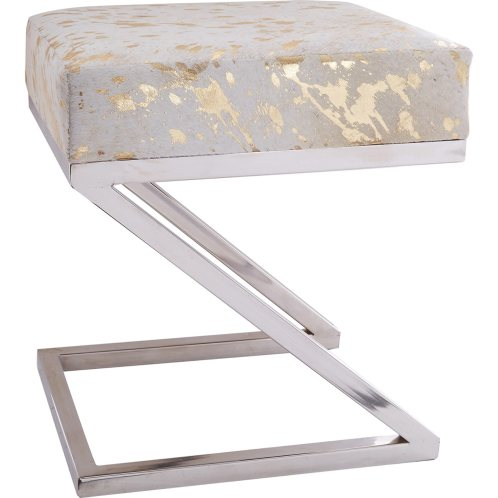 On trend white and gold cuboid stool. Ideal to use as a dressing table chair or occasional living room stooll.