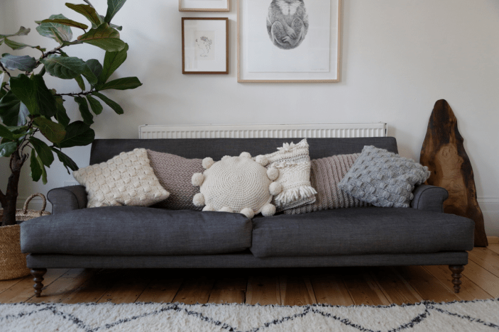 Knit your own stylish cushion with a Wool and the Gang handmade cushion knit kit