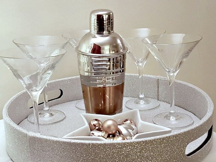 Cocktails anyone? Modern metallic cocktail shaker and LSA glasses