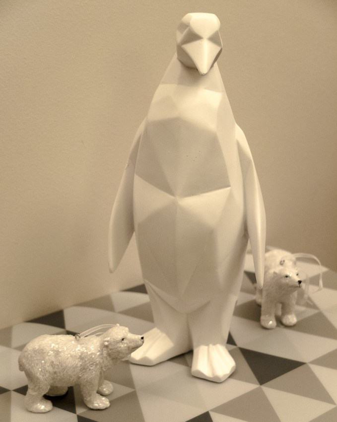 White geometric contemporary penguin decoration ornament - perfect for Christmas