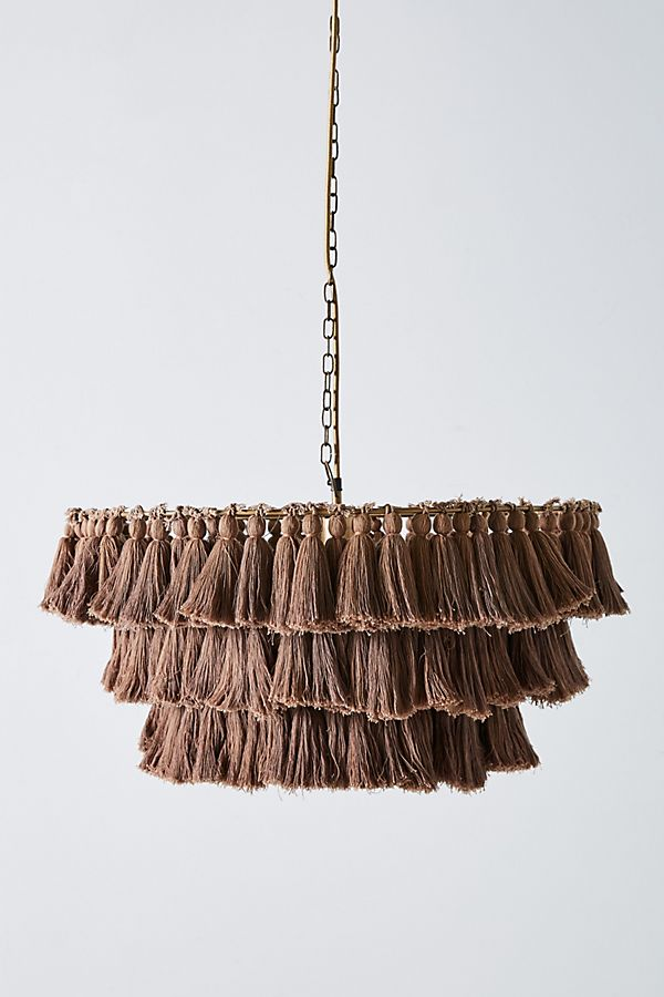 Love tassells? Why not have some hanging from your ceiling with this unusual chandelier light