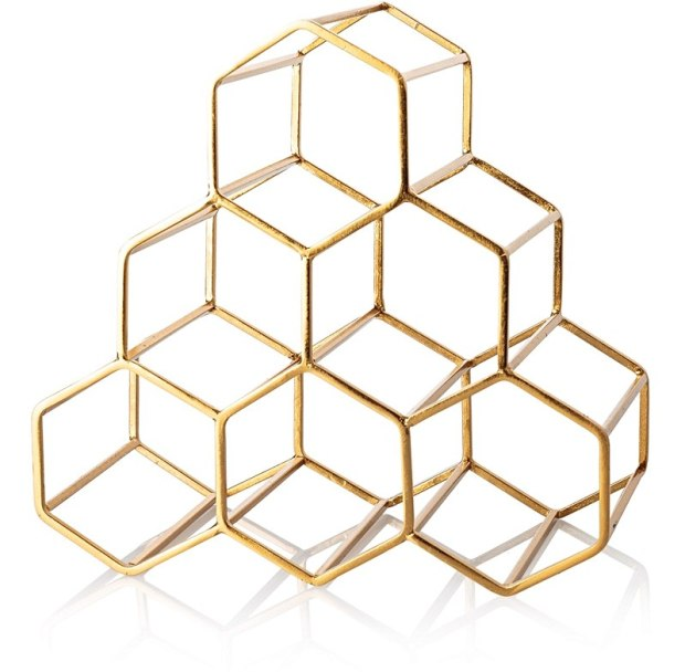 Stylish gold finish hexagon design wine rack
