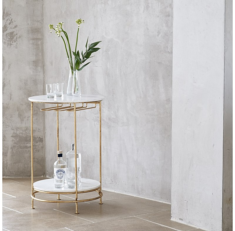 Retro style gold and marble topped elegant round bar cart table