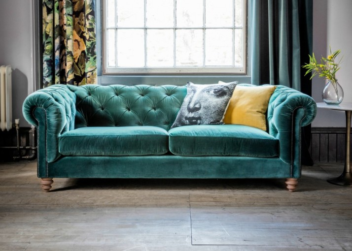 Sumptuous three seater velvet Chesterfield sofa - yes please!
