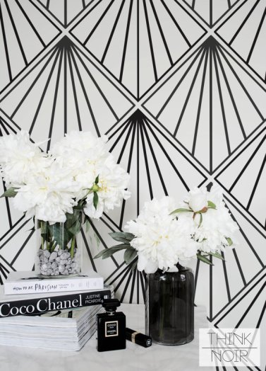 Create the art deco look in your home with this stunning wallpaper, available from Etsy