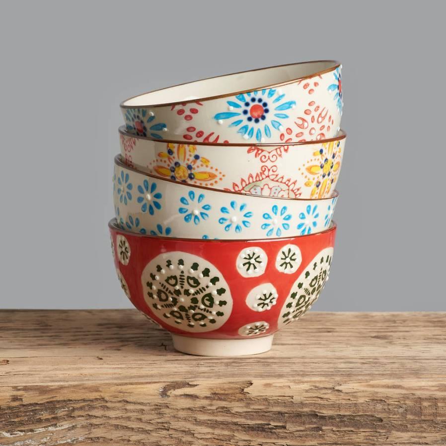Set of four gorgeous bohemian patterned ceramic bowls