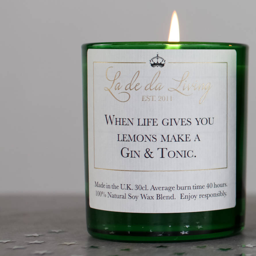 Luxury gin and tonic natural soy wax candle, for true fans of g&t