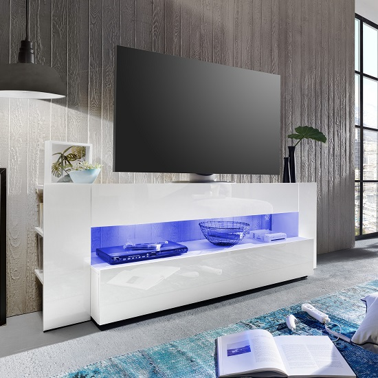 Contemporary Vista TV stand in white gloss finish