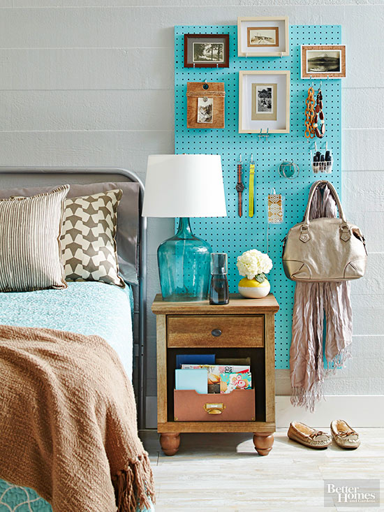 A very clever idea for bedroom storage, using a customisable pegboard