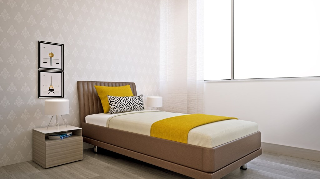 Have you considered bamboo flooring? It's a great choice for a bedroom.