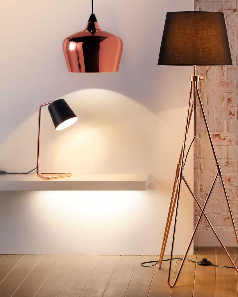 Copper lighting is bang on trend and affordable too, if you buy from Aldi!