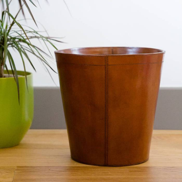Luxury leather round paper bin
