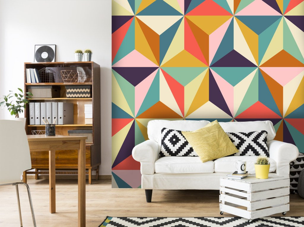 Stunning contemporary geometric design wall mural from Wallsauce