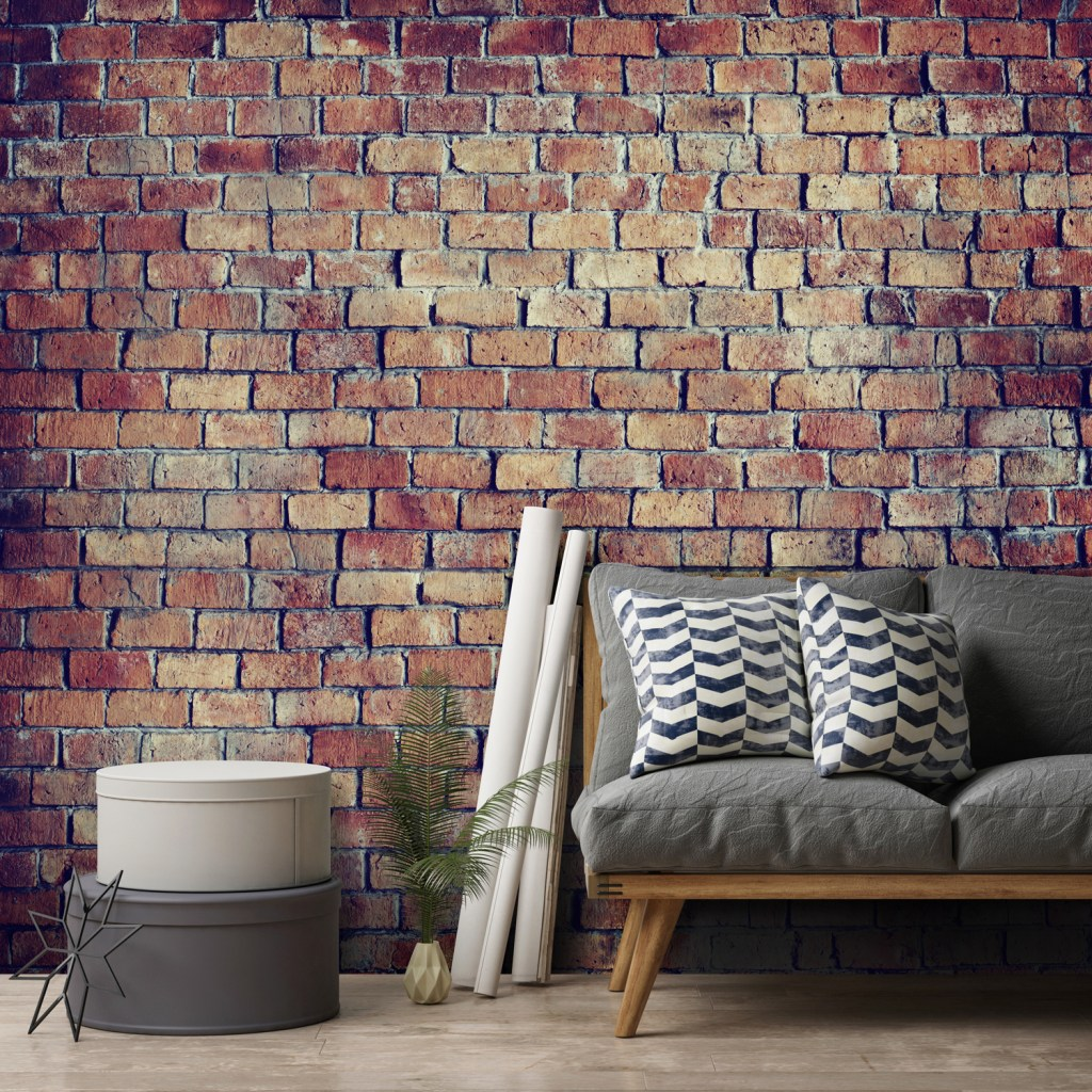 Create the effect of a natural brick wall in your home using this stunning wall mural