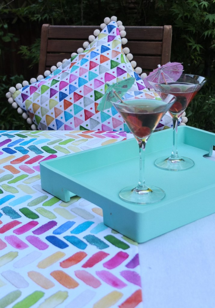 Gorgeous bright and colourful garden table textiles for summer dining and entertaining