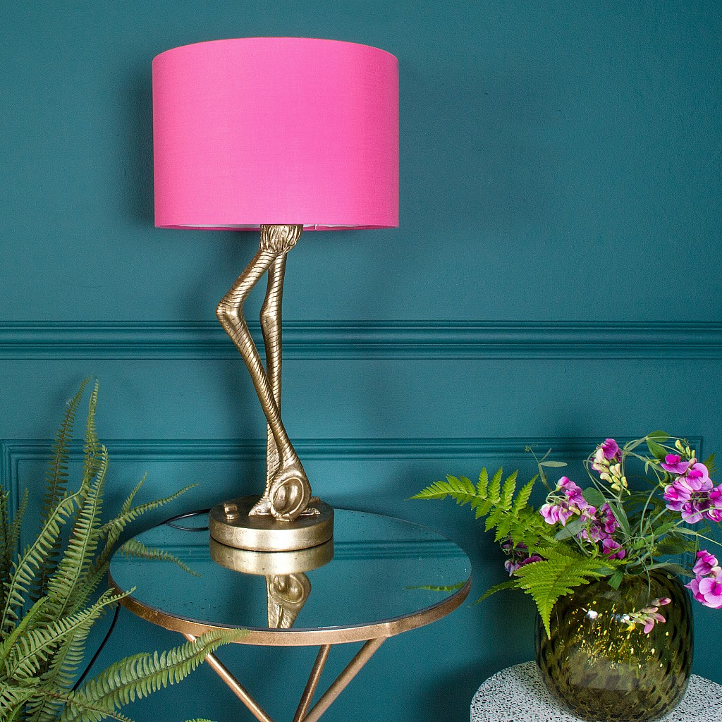 Love this quirky and unusual flamingo leg table lamp, complete with pink lamp shade