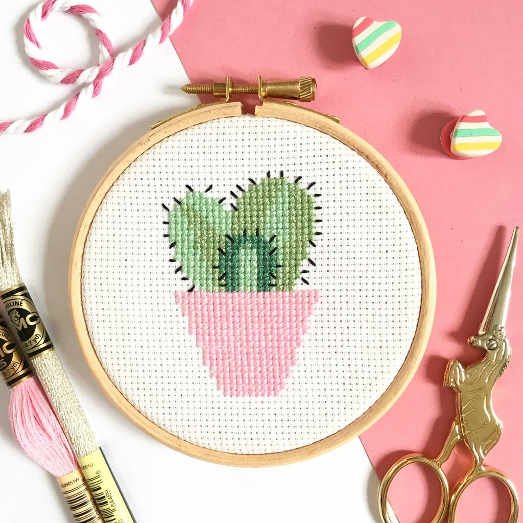 Love this cactus cross stitch kit. A great way to get creative and create your own cactus themed home decor.