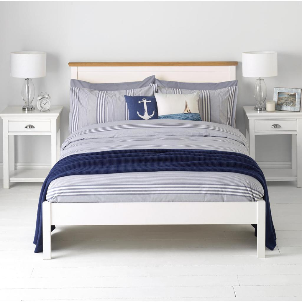 If you're decorating a bedroom in blue and white, check out this variegated stripe bedding set.