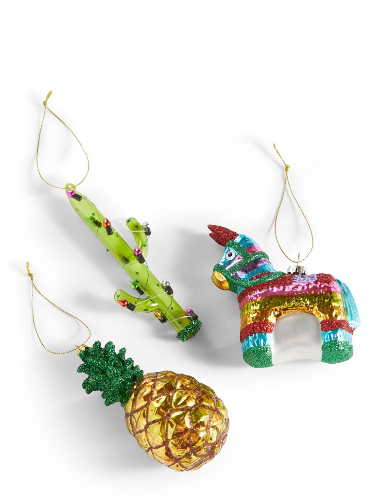Add some fun retro tropical style to your Christmas home decor with these tropical baubles