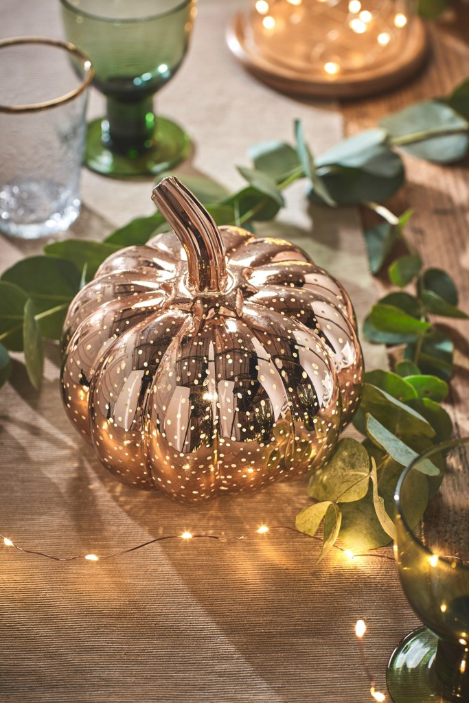 Gorgeous mottled rose gold pumpkin light