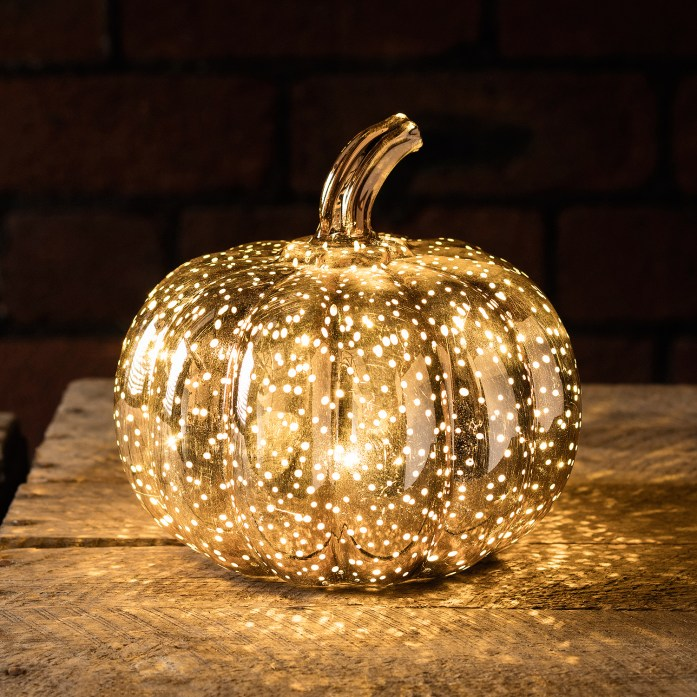 Gorgeous rose gold pumpkin light decoration from Lights 4 Fun