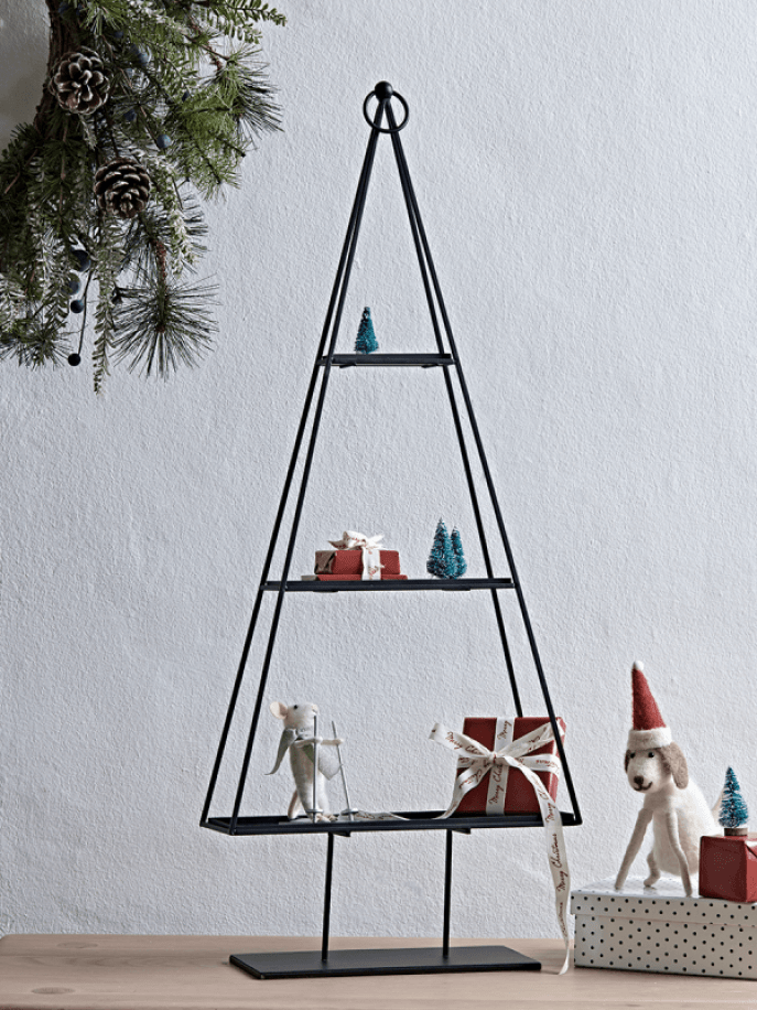 Nice Christmas tree shelf idea to use to create a festive table centrepiece or window sill display