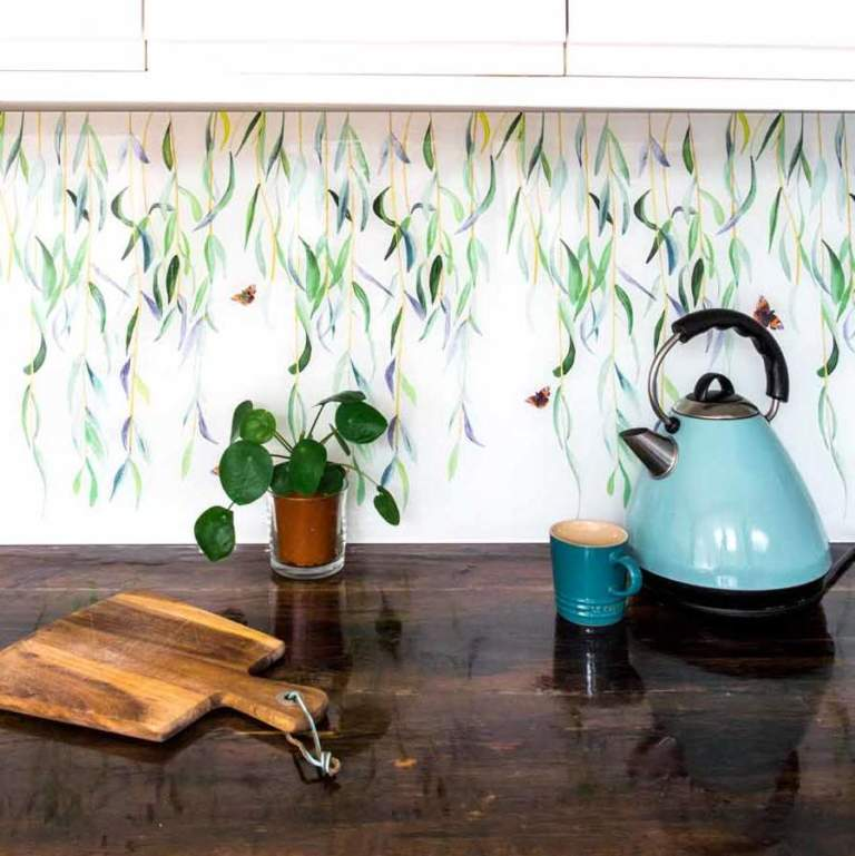 Willow and Red Admiral kitchen or bathroom splashback by glass designer Emma Britton