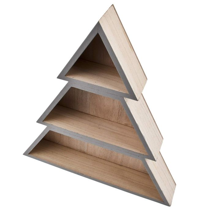 Love this Christmas tree shelf idea for displaying small Christmas decorations on
