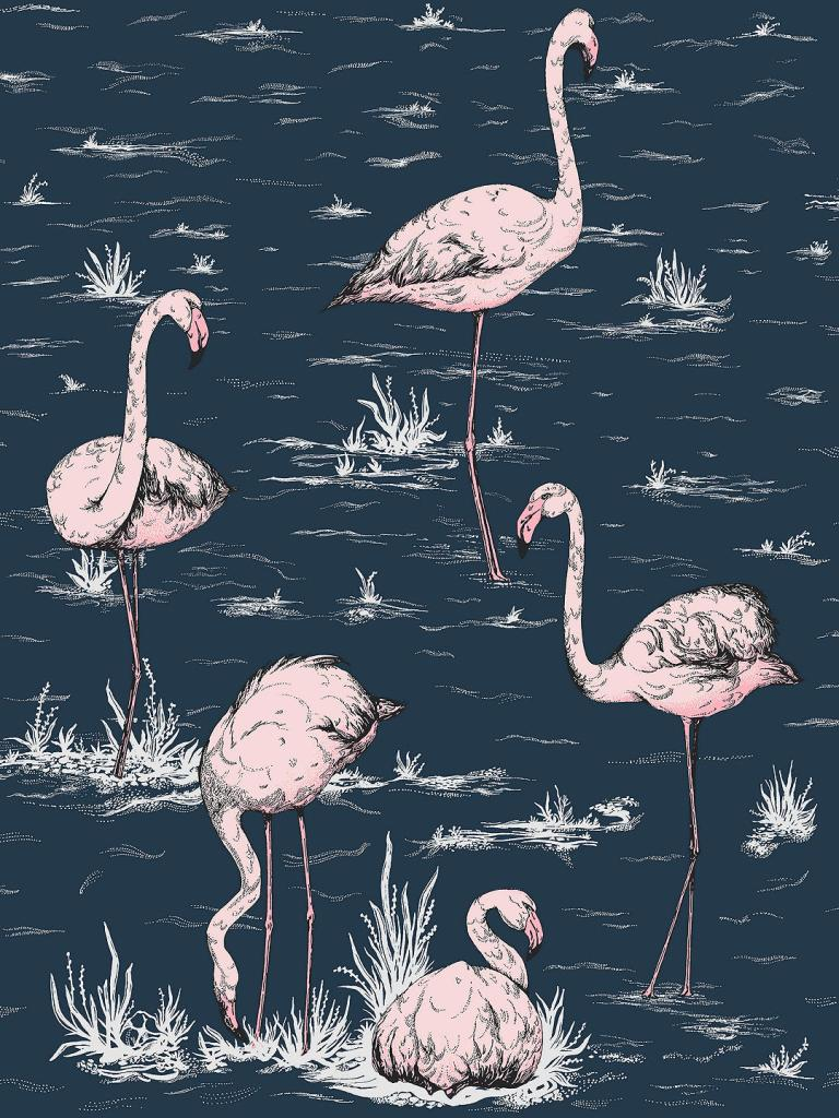 Who could resist this gorgeous flamingo design wallpaper?