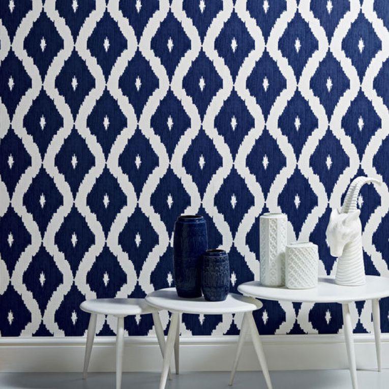 Kelly Hoppen Ikat design blue wallpaper for Graham and Green