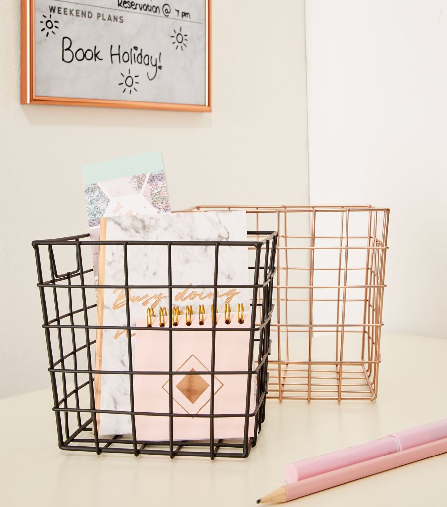 Get organised with this set of two wire organiser baskets