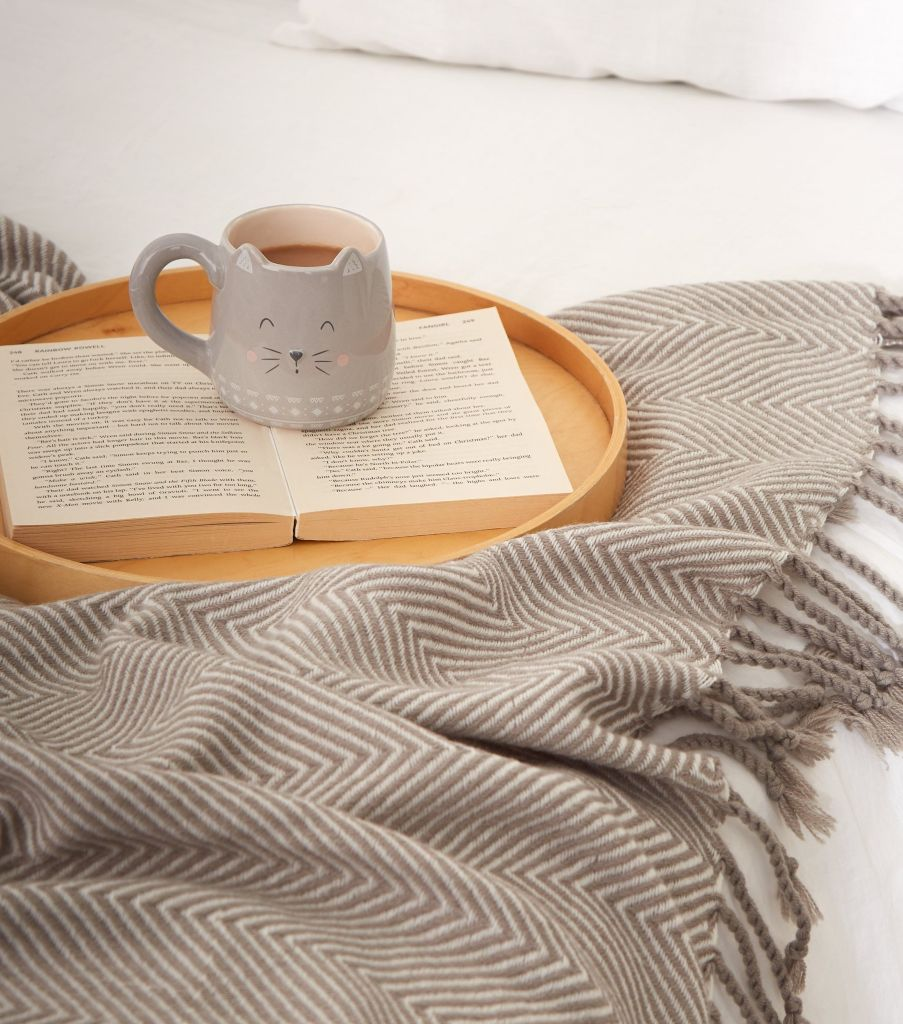 This cosy grey zig zag throw is an affordable homeware item and a great accessory to have in your home