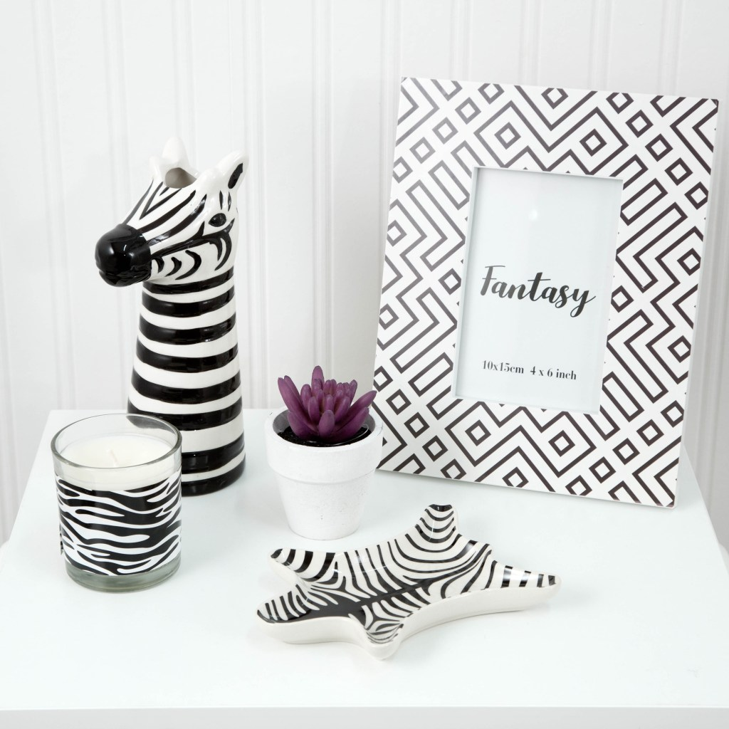 Love these gorgeous zebra design animal print affordable homeware ideas. They're from Poundland, would you believe?