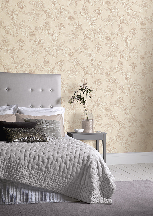 Decorate with nude tones on your walls, using this botanic wallpaper with a nude barely there background